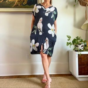 Nash Linen Dress With Birds and Flowers